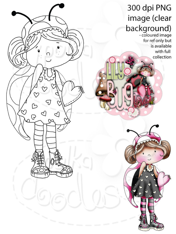 Lily Bug Love Hello from the Heart   - Digital Stamp CRAFT Download