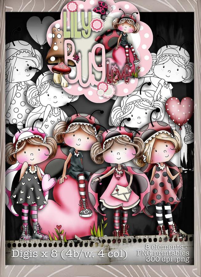 Lily Bug Love Download Kit Collection  - Digital Stamp CRAFT Download