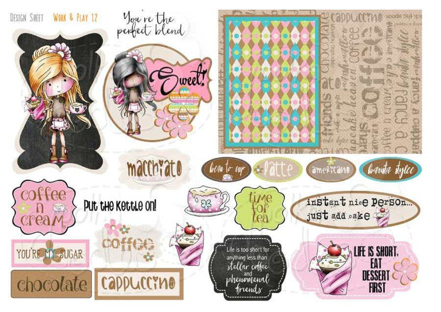 Work & Play 12 Design Sheet - Barista girl/coffee/cake/waitress - Digital Stamp CRAFT Download
