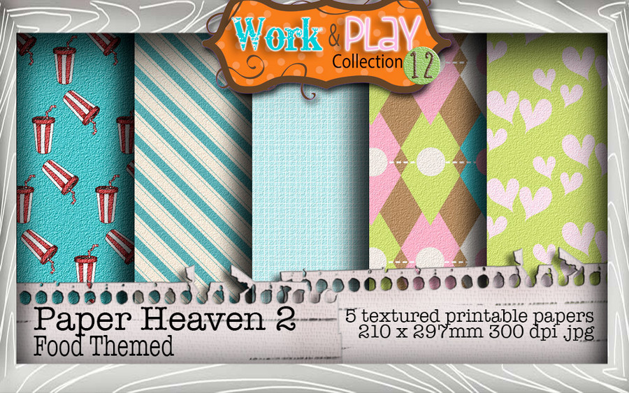 Work & Play 12 Paper Heaven 2 bundle kit - Coffee/cake/Fast food (5 papers) - Digital Stamp CRAFT Download