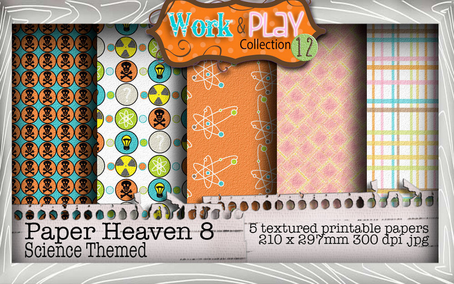 Work & Play 12 Paper Heaven8 bundle kit - science/geek (5 papers)