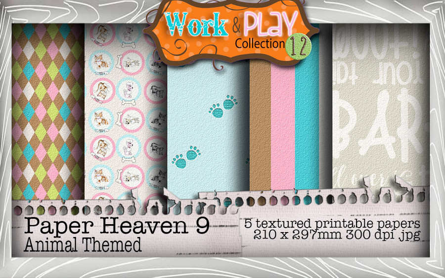 Work & Play 12 Paper Heaven 9 bundle kit - vet/dog (5 papers)