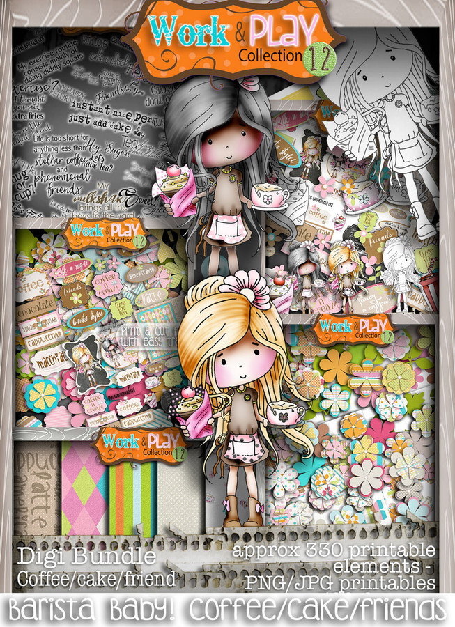 Barista Coffee/Cake bundle kit - Digital Stamp Scrapbooking Download