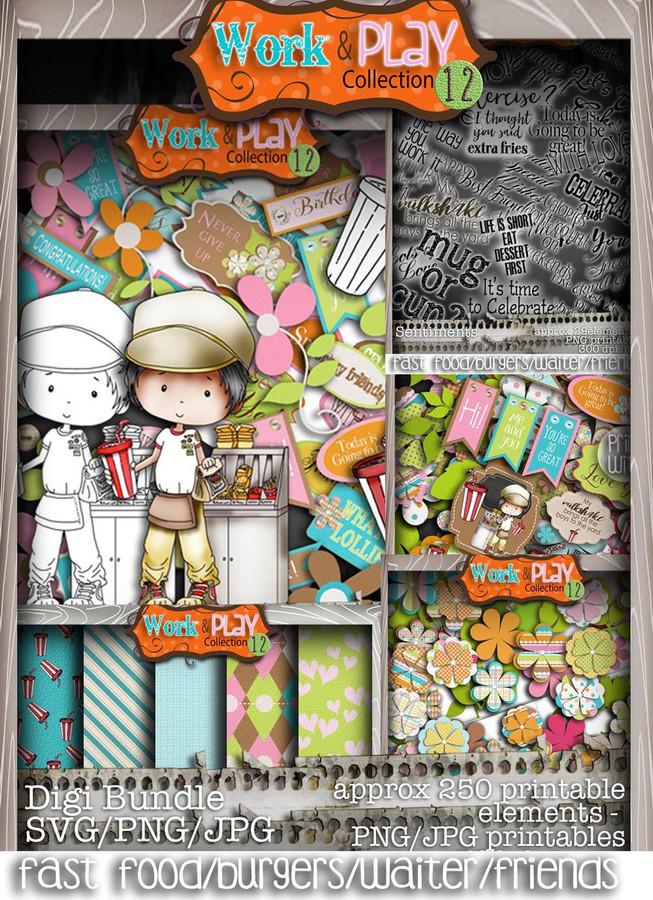 Fast Food/Waiter/burger bundle kit - Digital Stamp Craft Scrapbooking Download