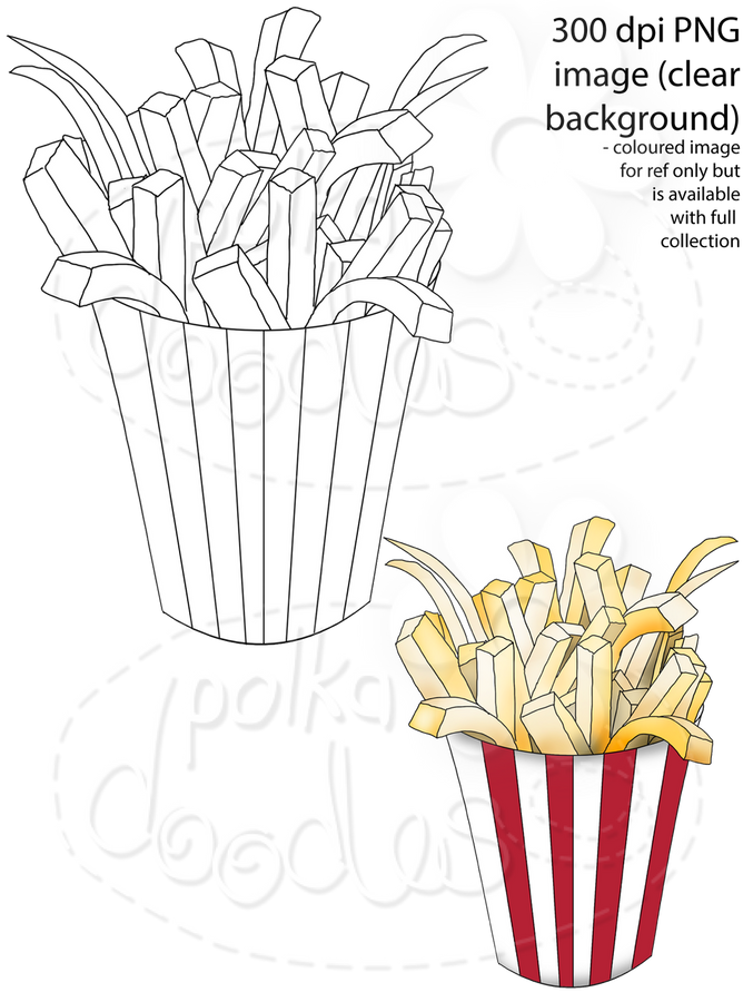 Fries Digital Stamp - Printable Crafting Digital Stamp Craft Scrapbooking Download