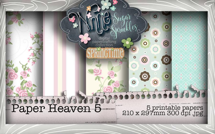 Winnie Sugar Sprinkles Paper Heaven 5 Bundle - Printable Crafting Digital Stamp Craft Scrapbooking Download
