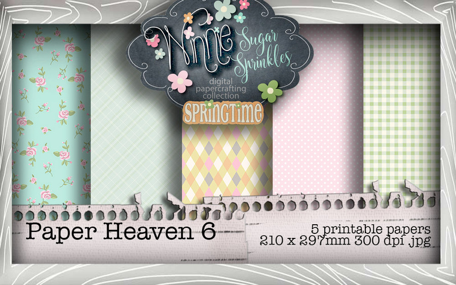 Winnie Sugar Sprinkles Paper Heaven 6 Bundle - Printable Crafting Digital Stamp Craft Scrapbooking Download