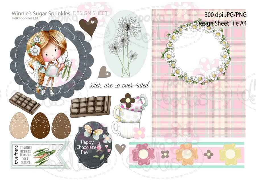 Winnie Sugar Sprinkles Springtime DESIGN SHEET 7 - Printable Crafting Digital Stamp Craft Scrapbooking Download