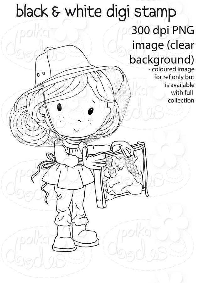 Honey Pie - Winnie Fruit Punch Printable Digital Craft Stamp Download, digiscrap