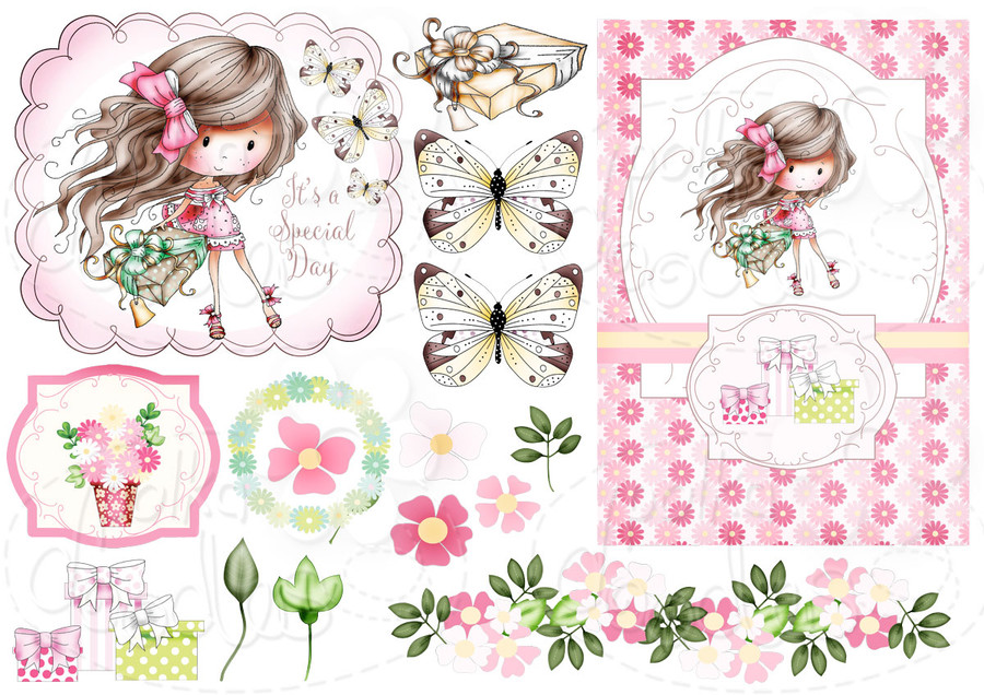 For You - Winnie Fruit Punch Printable Digital Craft Stamp Download, digiscrap