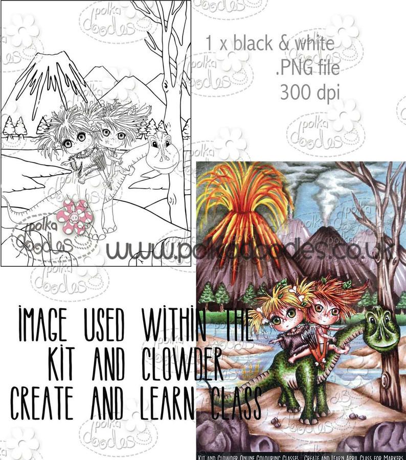 Kit & Clowder - Best Friends Dinosaur - Digital Stamp CRAFT Download