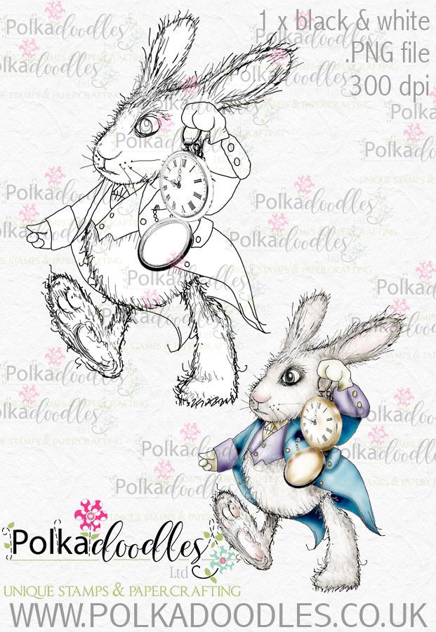 Winnie Wonderland I'm Late - Printable Digital stamp download