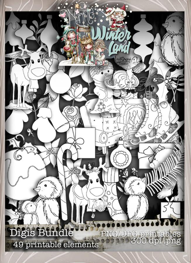 Winnie Winterland - Digis digital craft papers download