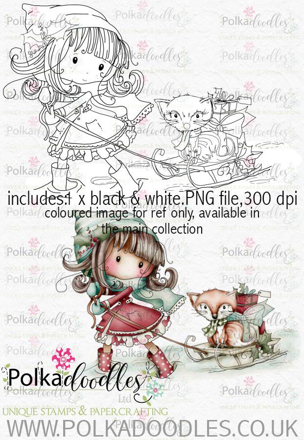 Winnie Winterland - Winter Fox digital craft stamp download