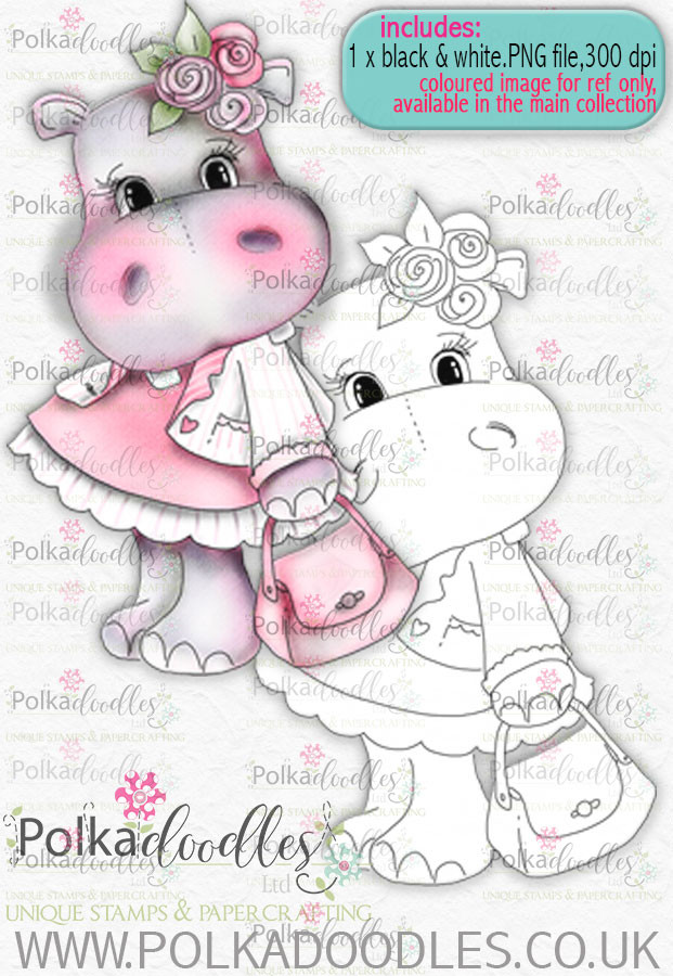 Helga Hippo - Pretty in Pink - download digi stamp