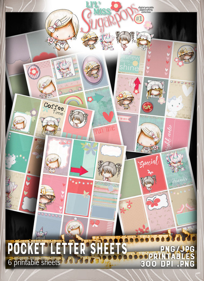 Pocket Letter pages - Lil Miss Sugarpops Kit 1...Craft printable download digital stamps/digi scrap kit