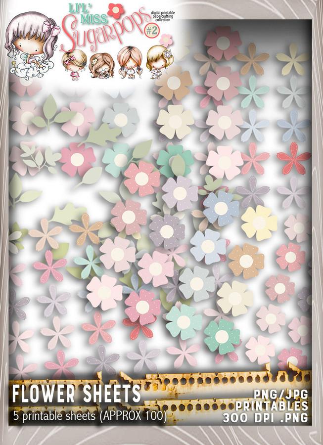 Flower sheets - Lil Miss Sugarpops Kit 2...Craft printable download digital stamps/digi scrap kit