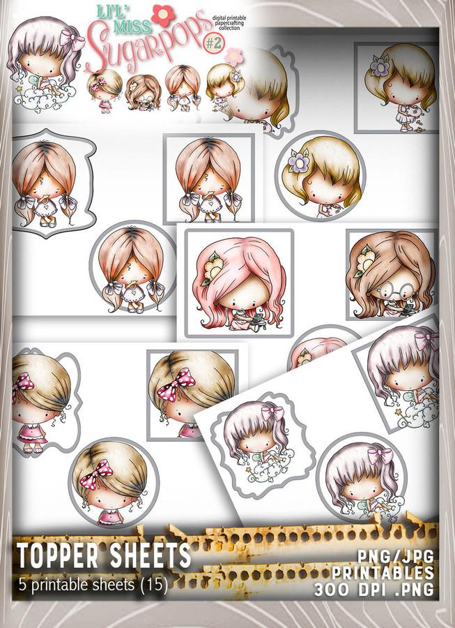 5 sheets of Topper sheets (5 sheets x 3 per sheet) - Lil Miss Sugarpops Kit 2...Craft printable download digital stamps/digi scrap kit