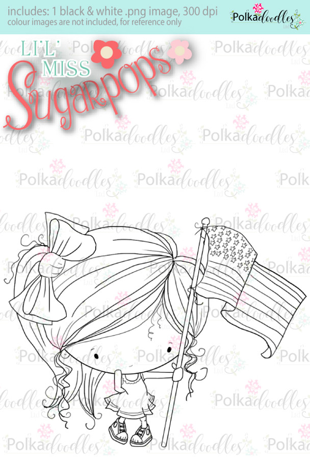 USA 4th July Flag Digi Stamp