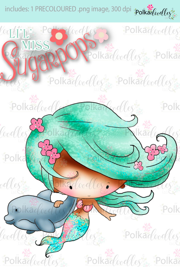 Lil Miss Mermaid dolphin precoloured digi stamp - Lil Miss Sugarpops 3...Craft printable download digital stamps/digi scrap