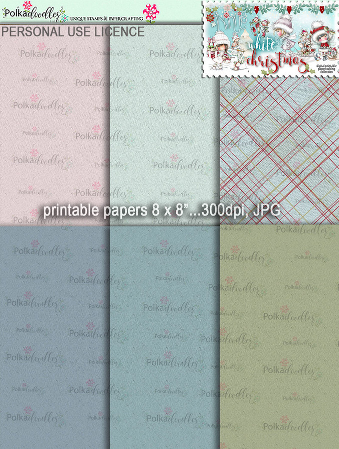 Printable Papers 4 - Winnie White Christmas digi downloads