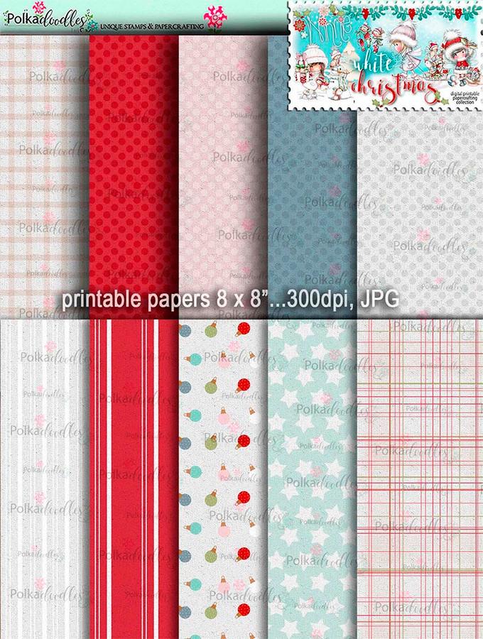 Printable Papers 1 - Winnie White Christmas digi downloads