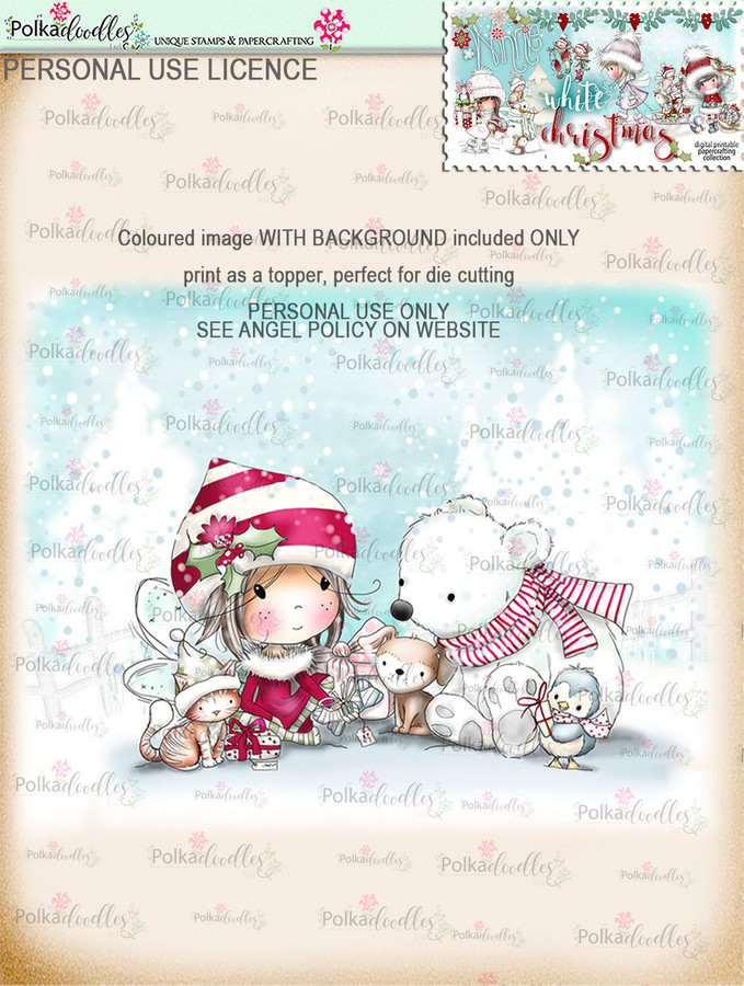 Time to Give Gifts - Coloured Digital Stamp download. Winnie White Christmas printables.Craft printable download digital stamps/digi scrap