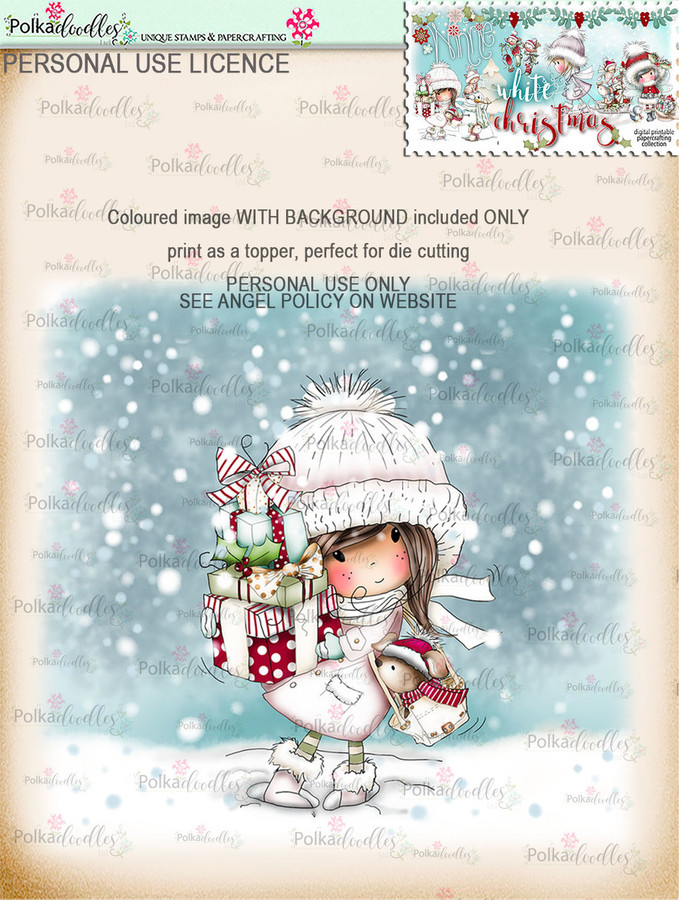 Christmas Shopping - Coloured Digital Stamp download. Winnie White Christmas printables.Craft printable download digital stamps/digi scrap