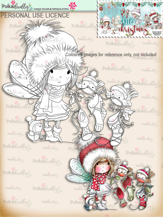Robin Stocking Friends  - Digital Stamp download. Winnie White Christmas printables.Craft printable download digital stamps/digi scrap