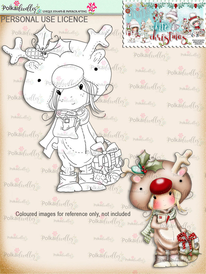 Rudolph Onesie  - Digital Stamp download. Winnie White Christmas printables.Craft printable download digital stamps/digi scrap