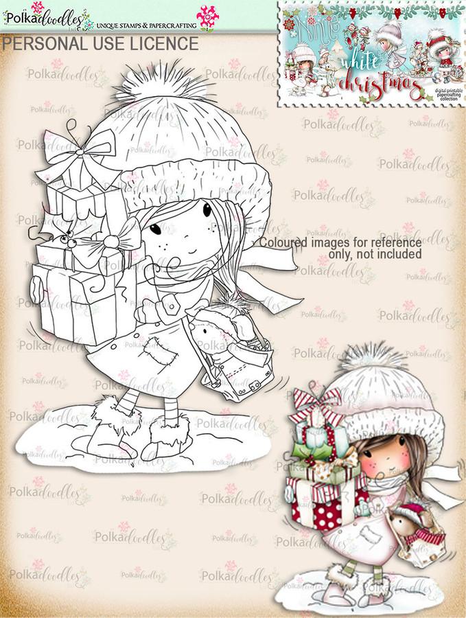 Christmas Shopping - Digital Stamp download. Winnie White Christmas printables.Craft printable download digital stamps/digi scrap