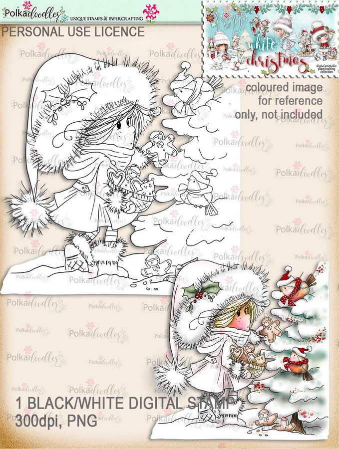 Feeding Winter Birds - Digital Stamp download. Winnie White Christmas printables.Craft printable download digital stamps/digi scrap