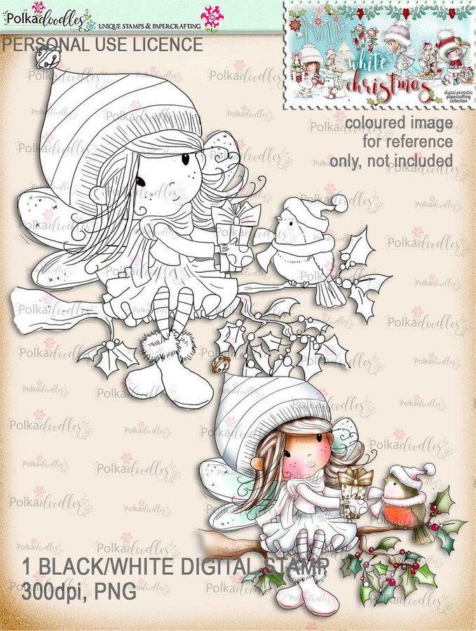 Robin Gift branch - Digital Stamp download. Winnie White Christmas printables.Craft printable download digital stamps/digi scrap