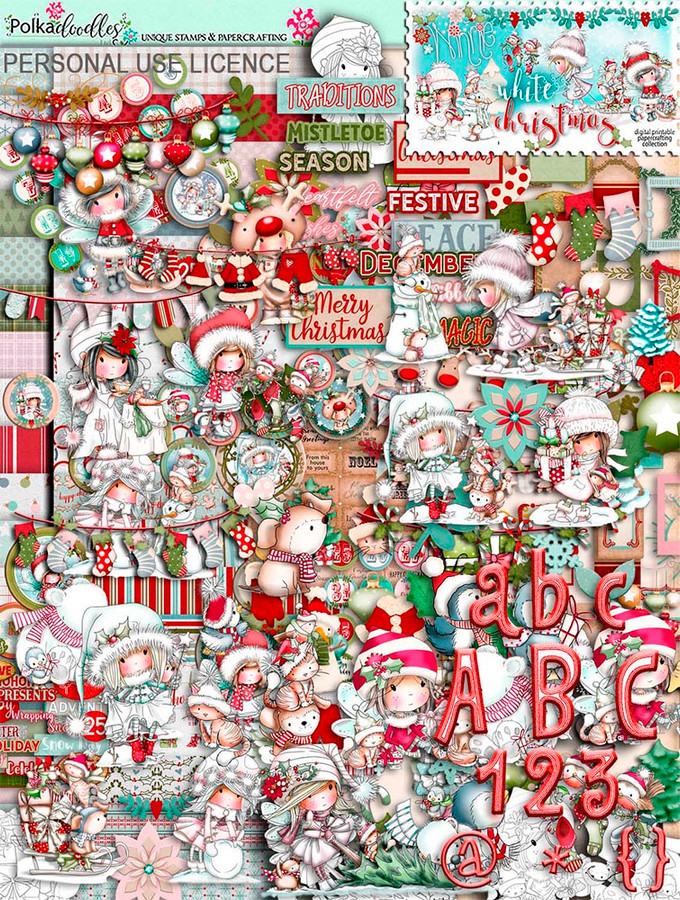 Winnie White Christmas printables on USB. Over 53650 printable digital images for crafting and digital scrapbooking featuring Winnie - an adorable nostalgic girl character. Beautiful digital stamp downloads in black and white, colour, printable papers, coloured toppers, design sheets, embellishments, word art and more, all themed in beautiful snowy scenes with Winnie's Snowy friends, Rudolph, Kitty Cat, Sparkles the Unicorn, Snowy Dog, Polar Bear Henry and her fab penguin friends. Make adorable Christmas Cards, scrapbook pages and journals - make everything you need this Christmas time.