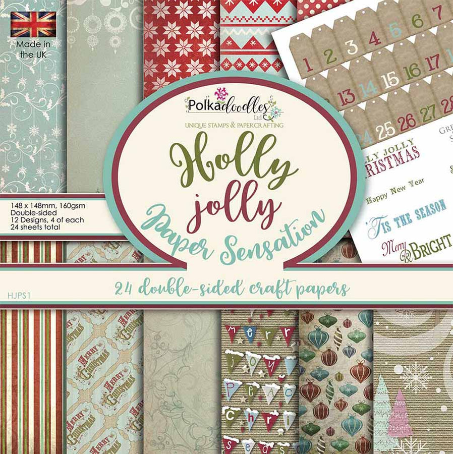 """Holly Jolly Christmas Paper pad, 6 x 6"""" designs, 24 sheets, double-sided papers"""