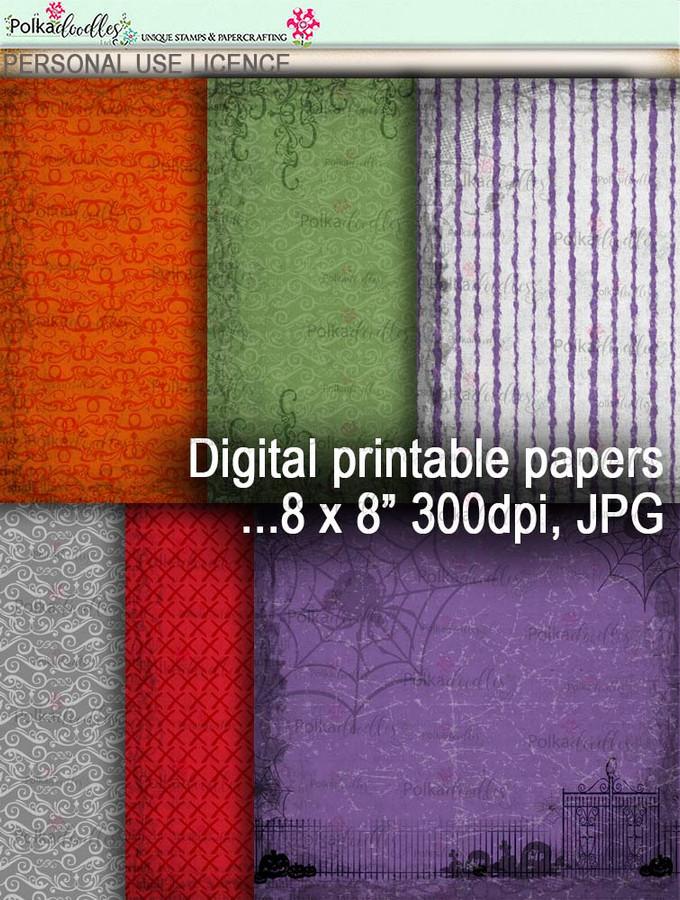 Printable download Halloween Trick or Treat papers 1 - Digital Stamp download printable clipart. Craft printable download digital stamps/digi scrap