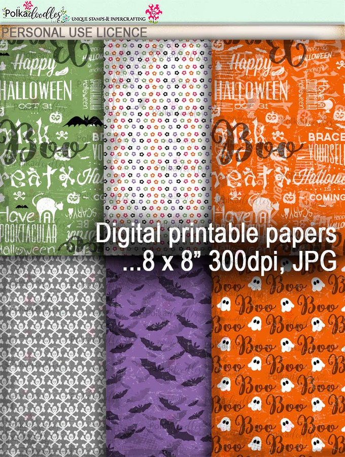 Printable download Halloween Trick or Treat papers 3 - Digital Stamp download printable clipart. Craft printable download digital stamps/digi scrap