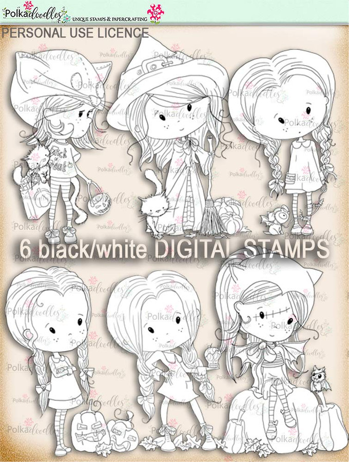Winnie Wednesday Halloween DIGI STAMP BUNDLE printable download
