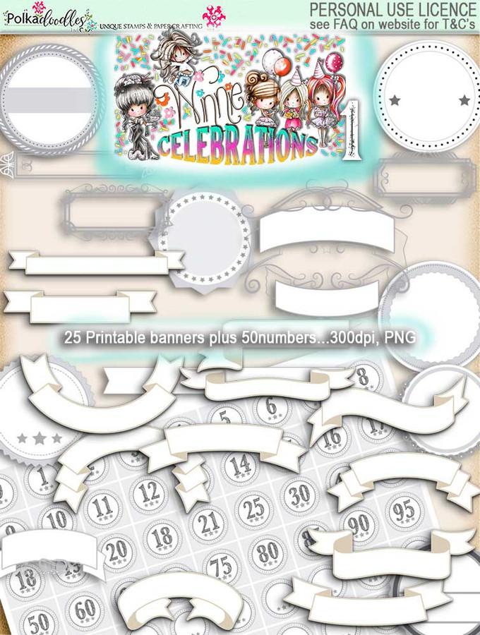 Winnie Celebrations 1... Banners & Numbers - digi scrap kit download digital paper printables. High quality 300dpi.