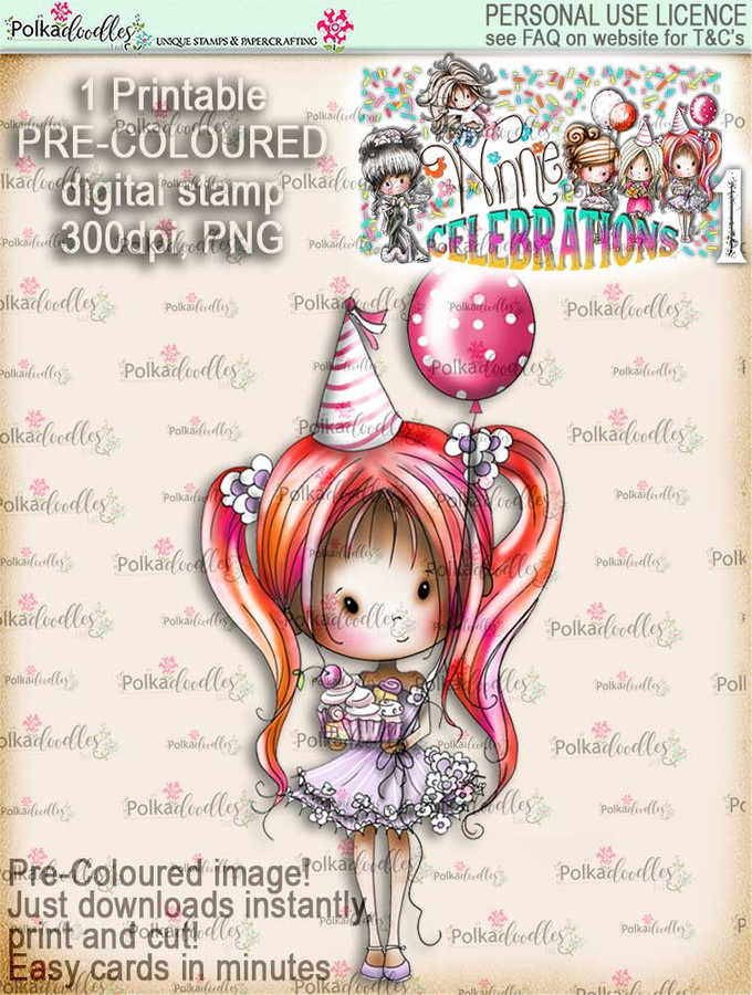 Winnie Celebrations 1... Let's Celebrate COLOUR digi stamp printable download