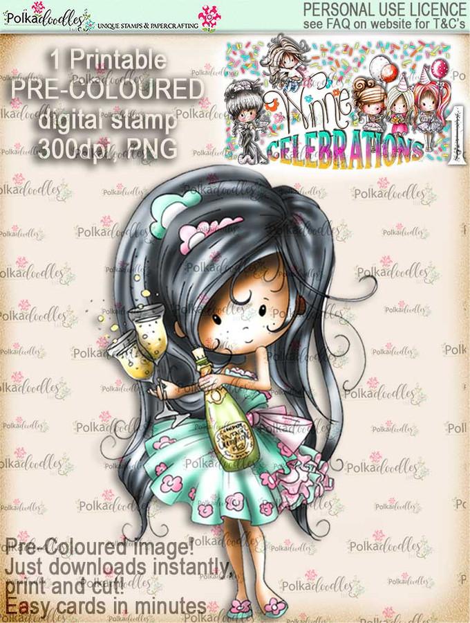 Winnie Celebrations 1...Anniversary COLOURED digi stamp printable download