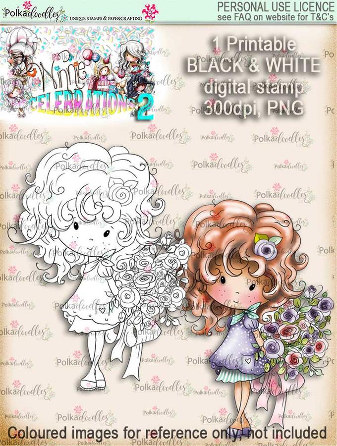 Winnie Celebrations 2...Bouquet, flowers, bunch  black/white digi stamp printable download