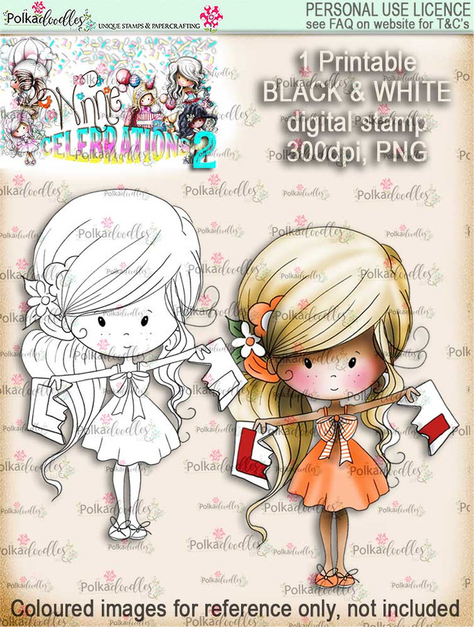 Winnie Celebrations 2...You Passed! Driving Test, L plates, hen night  black & white digi stamp printable download