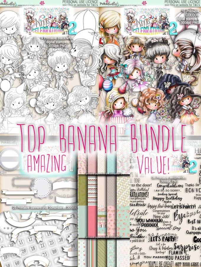 Winnie Celebrations 2...Top Banana bundle, mega value kit of digi stamps, papers, sentiments, banners & numbers printable downloads