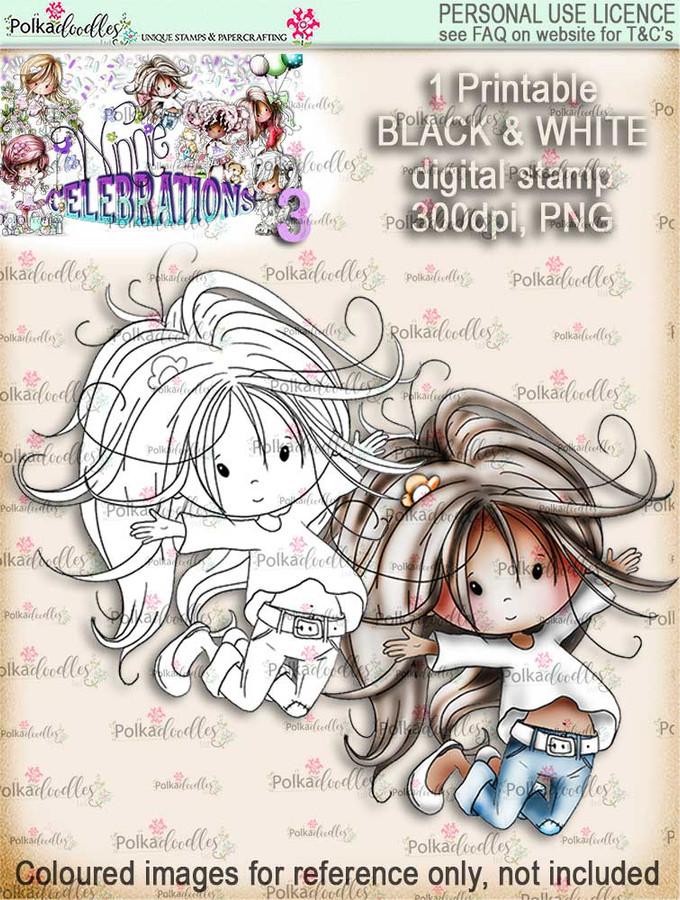 Winnie Celebrations 3...Jump for Joy black & white digi stamp printable download