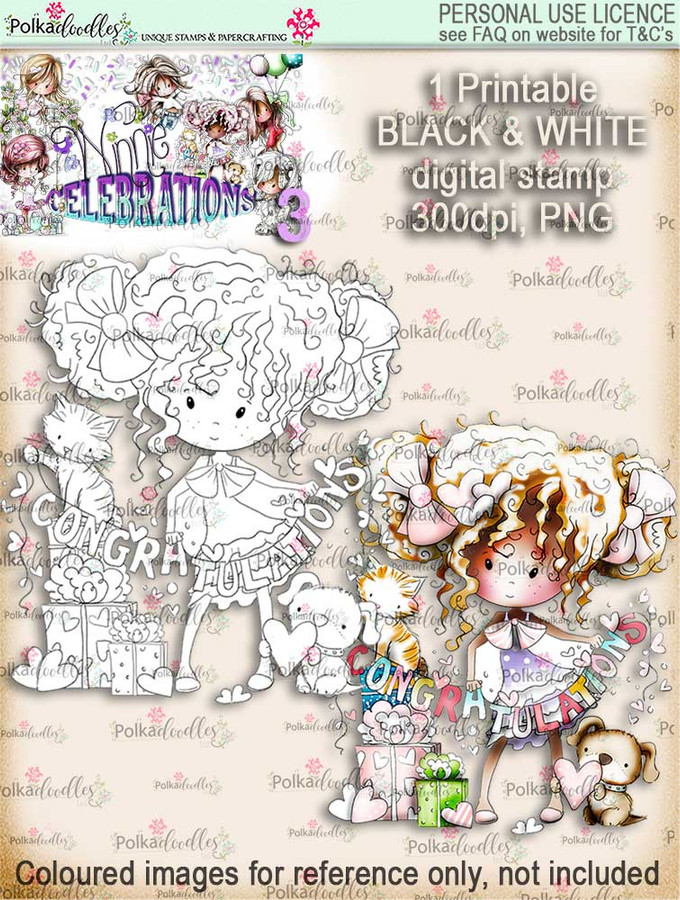 Winnie Celebrations 3...Engaged/Congratulations/Engagement black & white digi stamp printable download