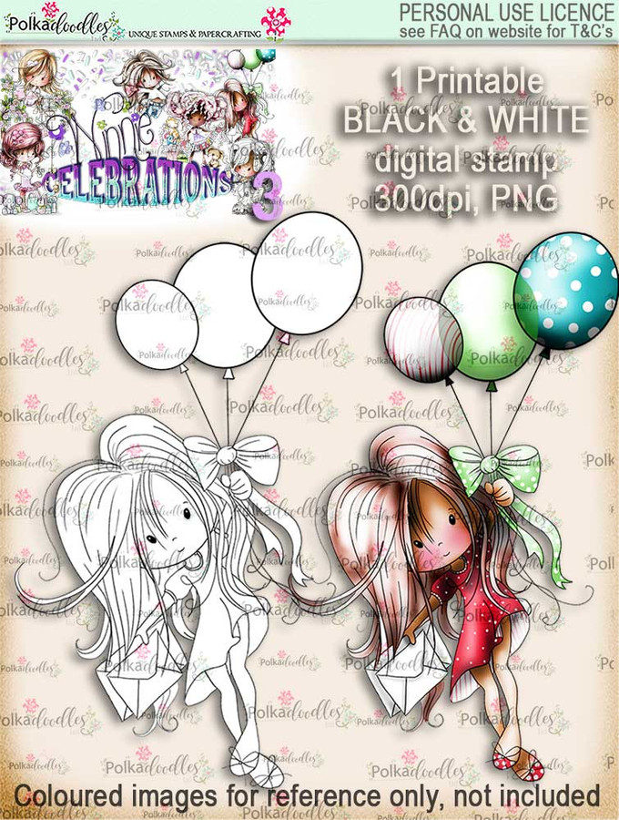 Winnie Celebrations 3...Flying High, Taking Off, Aim for the sky black & white digi stamp printable download