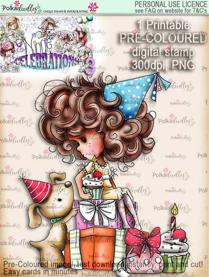 Winnie Celebrations 3...Pile of Surprises COLOURED digi stamp printable download
