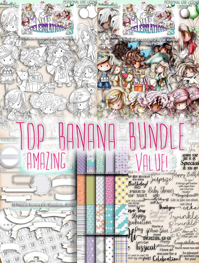 Winnie Celebrations 3...Top Banana bundle, mega value kit of digi stamps, papers, sentiments, banners & numbers printable downloads
