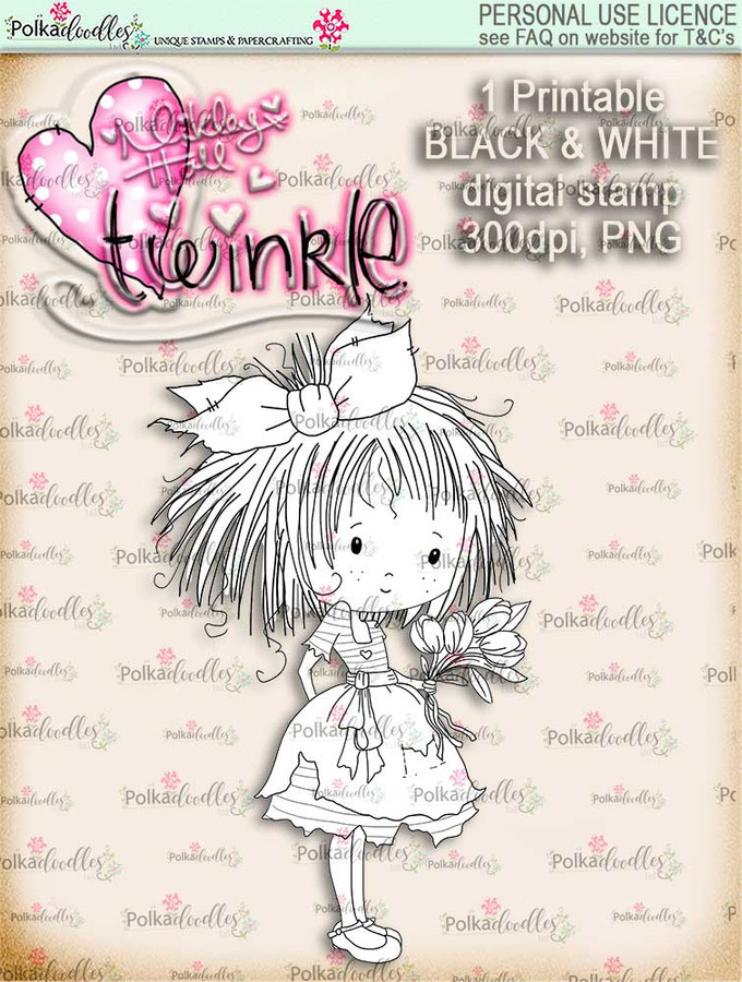 Twinkles...Tulips digi stamp printable download